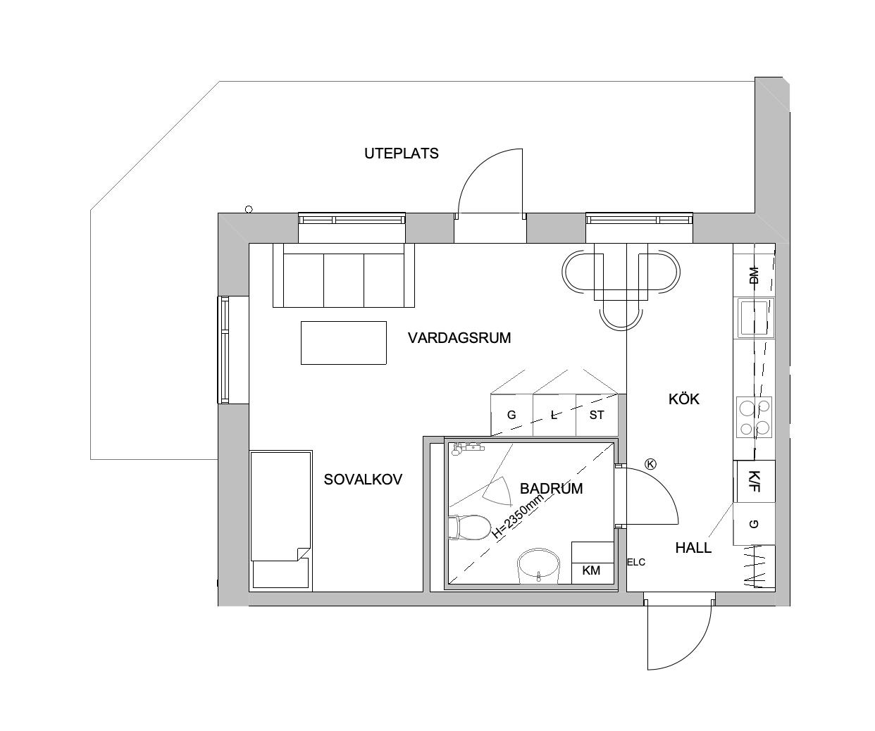 Planlösning - 1 rum och kök