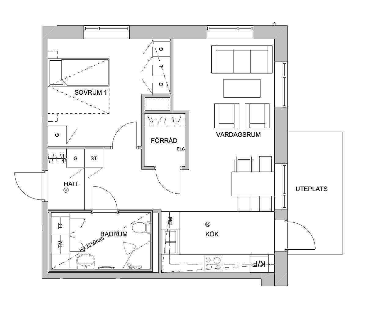 Planlösning - 2 rum och kök