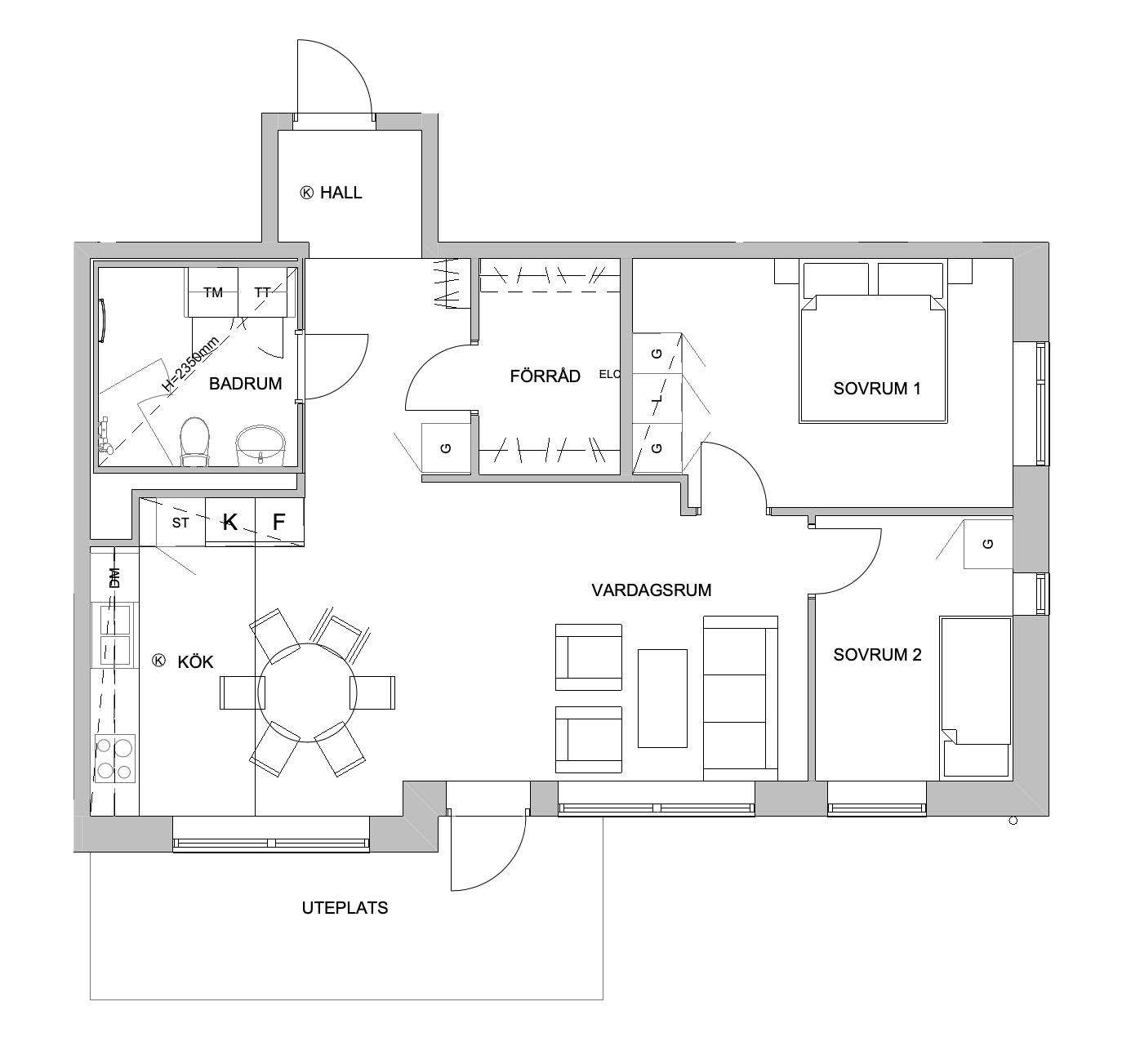 Planlösning - 3 rum och kök